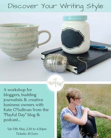 Promo for Discover Your Writing Style a Workshop by Kate O'Sullivan of A Playful Day at This is Knit in May 2017