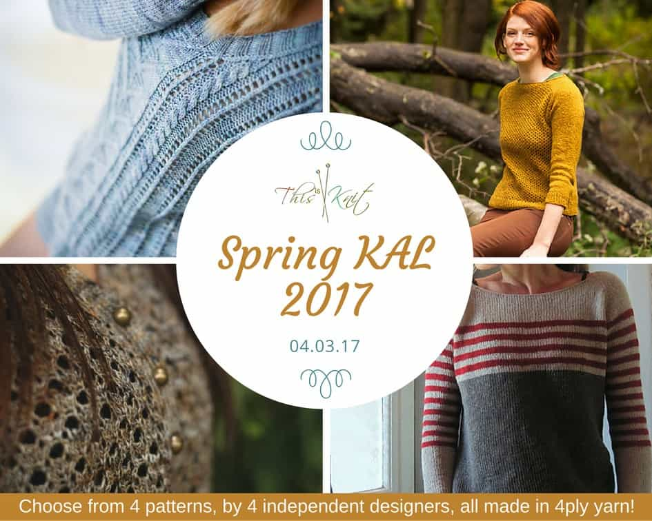 Join the This is Knit Spring Knit-a-Long with a choice of four light weight sweater patterns from four independent designers, all knit in 4ply yarn.