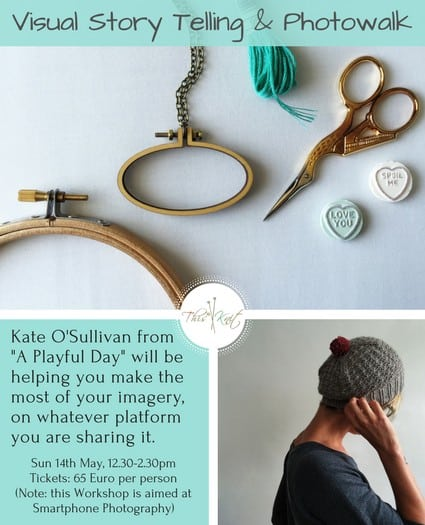 Promo for Visual Story Telling - a Workshop by Kate O'Sullivan of A Playful Day at This is Knit in May 2017