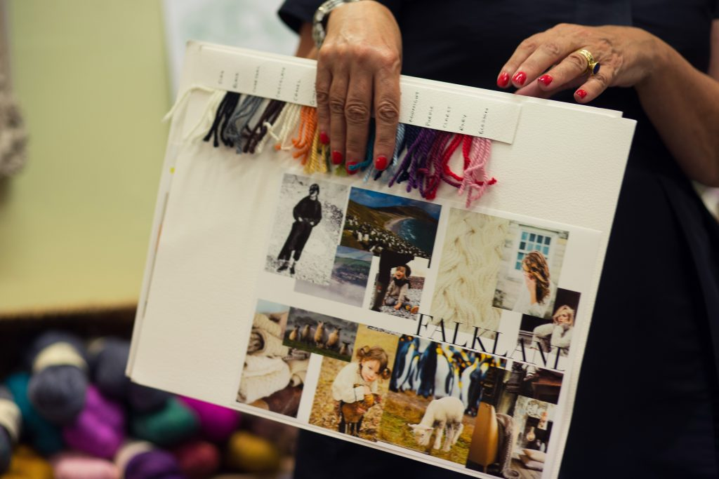 Debbie Bliss holding her Falkland Aran Mood Board at the This is Knit 10th Anniversary Party