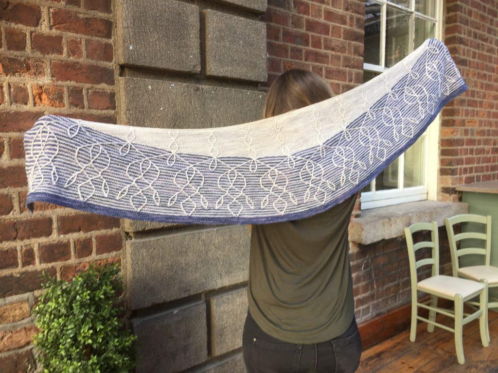 The Cypri Shawl by Amanda Scheuzgerin Hedgehog Fibres Sock Yarn. An elegant knitted shawl.