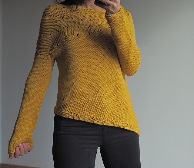 Golden Yellow Solid Colour Version of Stephen West's Enchanted Mesa Knitting Pattern