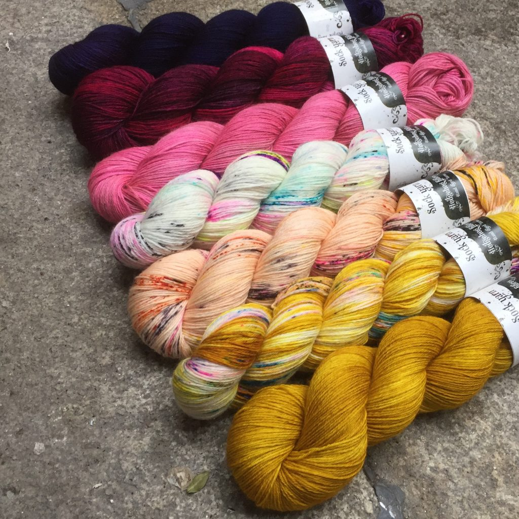 A selection of Hedgehog Fibres Sock Yarn. One of the yarns suitable to be used in the This is Knit Spring Knitalong 2017