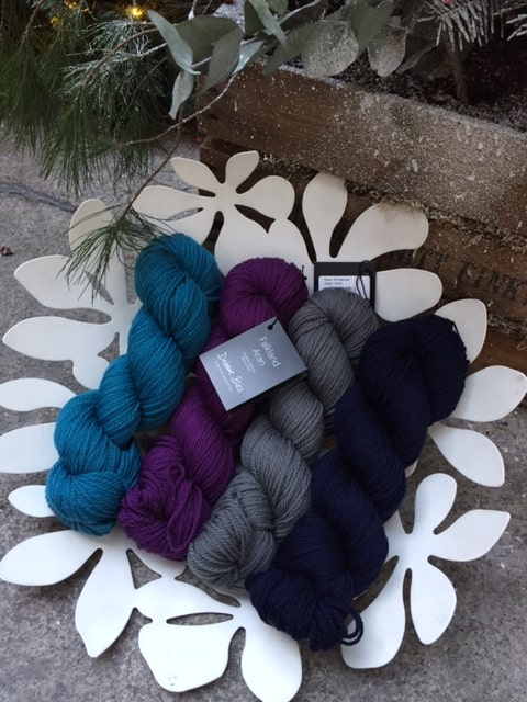 Debbie Bliss Falkland Aran suggested colour combination for Om Shawl