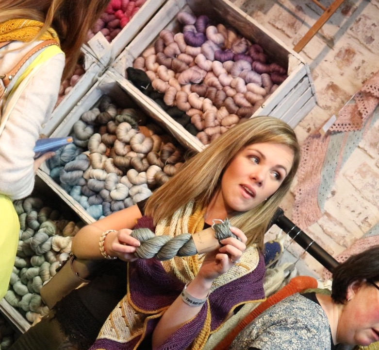 Jenny overwhelmed by pretty yarn at EYF