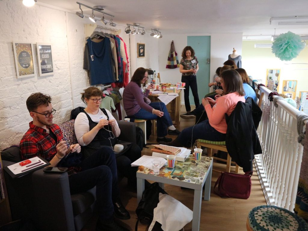 Lots of enthusiastic knitters at the This is Knit Spring KAL Cast On Party