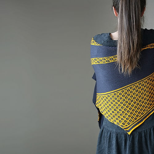 Melanie Berg's Eifelgold Shawl - a mosaic shawl. Learn more about Mosaic Knitting and design your own shawl at Melanie's workshop in This is Knit on Saturday 8th April 2017