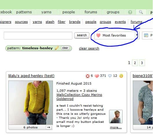 A screenshot showing how to select Most Favourites as the sorting method when viewing finished projects on Ravelry