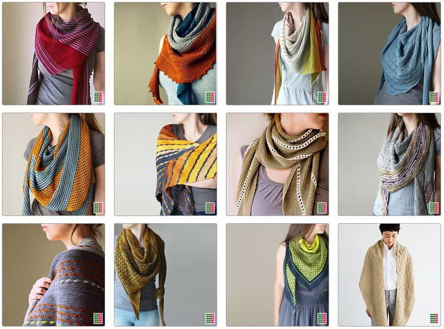 Ravelry Screenshot of Melanie Berg's most popular patterns